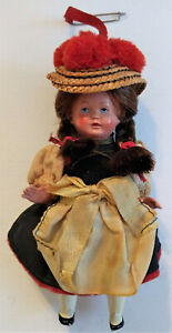 Celluloid-Doll-Black-Forest-Germany-National-Costume-Moveable-Arms-Legs-Vintage