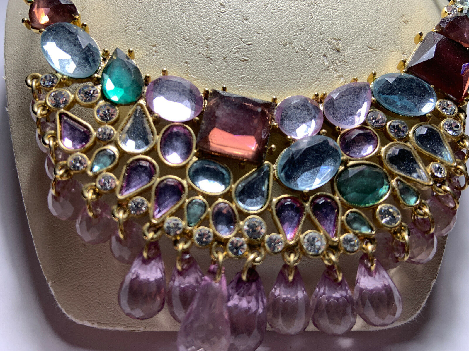 Vintage Arnold Scaasi gold tone multicolored hang… - image 6