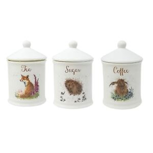 3 X BOXED WRENDALE KITCHEN FINE PORCELAIN CHINA COFFEE SUGAR TEA JAR CONTAINERS