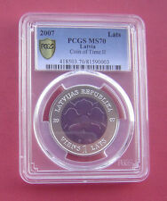 Latvia 2007 Coin of Time II Lats Bimetallic Ag+Nb Coin PCGS MS70