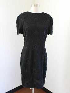 Vtg-Stenay-Black-Floral-Silk-Beaded-Sequin-Cocktail-Party-Dress-Size-8P-Evening