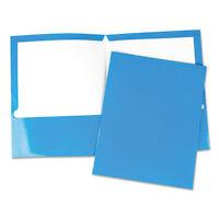 Universal Laminated Two-pocket Folder Cardboard Paper Blue 11 X 8 1/2 25/box on sale