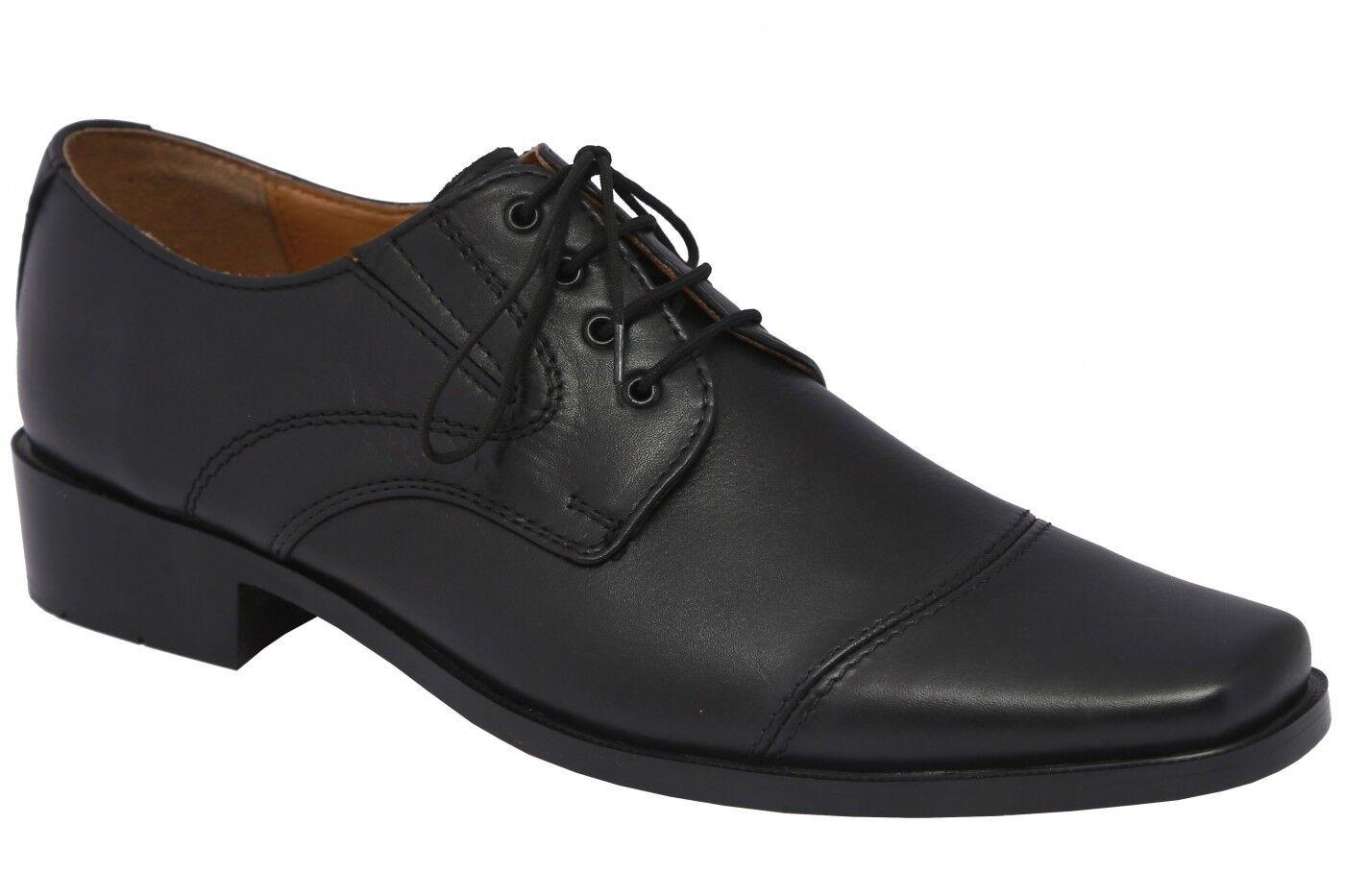 German Wear,Business-schuhe Halbschuhe Lederschuhe mit Ledersohle Schuhe schwarz