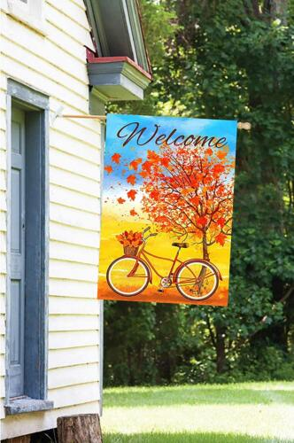 Morigins Welcome Autumn Bicycle Decorative Red Fall Maple Leaves Garden Flag