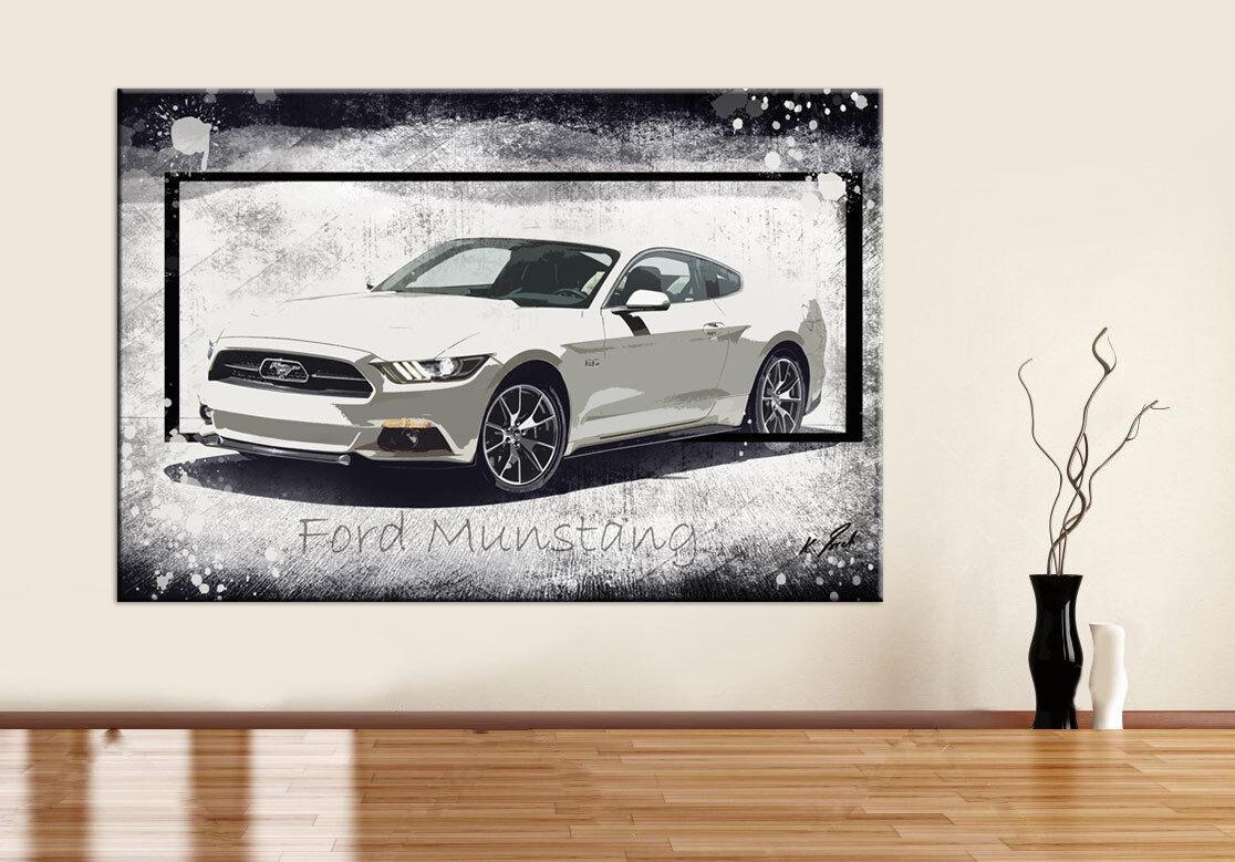 Auto Ford Mustang Sportwagen Bild Leinwand Abstrakte Bilder Wandbilder D0956