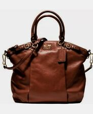 New COACH F 18641 Madison Lindsey Brown Purse Handbag X LARGE $398 MSRP