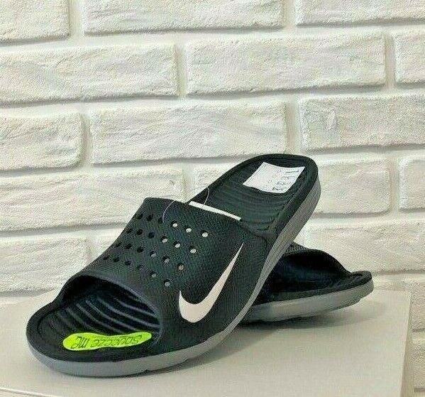 brand new d2893 3fb99 Nike Solarsoft Men's Slippers rubber Slides Flip-Flops black 386163-011