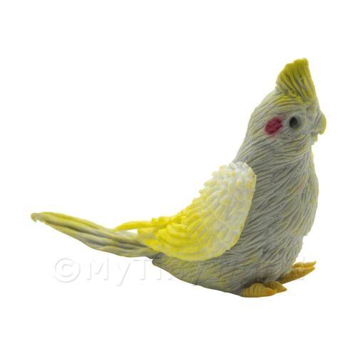 handgefertigt Puppenhaus Miniatur grau Nymphensittich mit gelber Krone