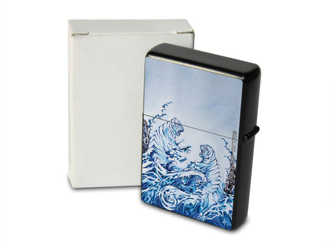 Pocket Windproof Lighter Brushed Oil Refillable Tiger wave