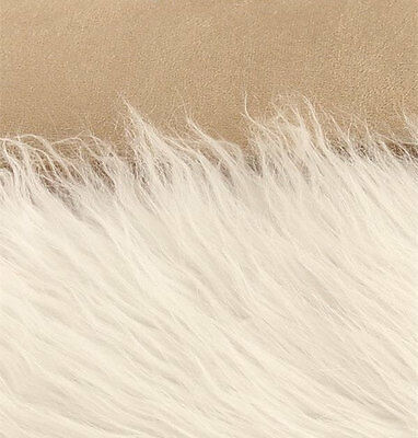 "Faux Fur Long Pile Bonded Shaggy Suede Backing Fabric White 60"" Wide by yard"