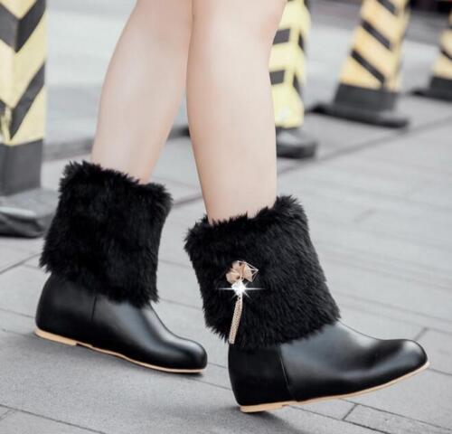 Womens Round Toe Faux Fur Warm Snow Ankle Boots Winter Casual Shoes Sz35-44 H816