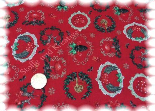 Alpenlook Weihnachtsstoff rot Baumwolle 50 cm Weihnachten Deko nähen