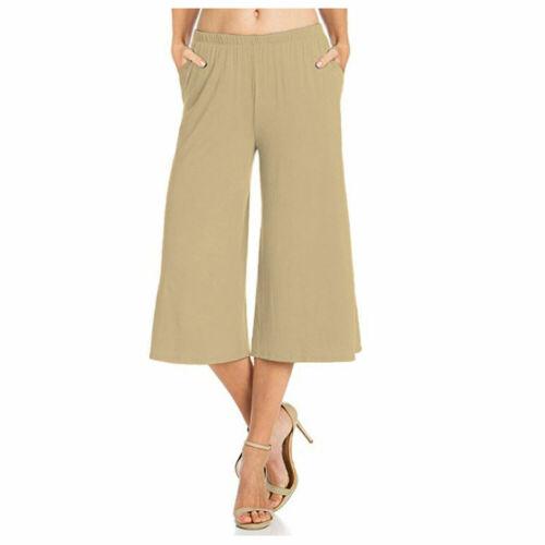 WEWCP Women Ladies Casual Wear Elastic Waist Capri Culottes Pocket Palazzo