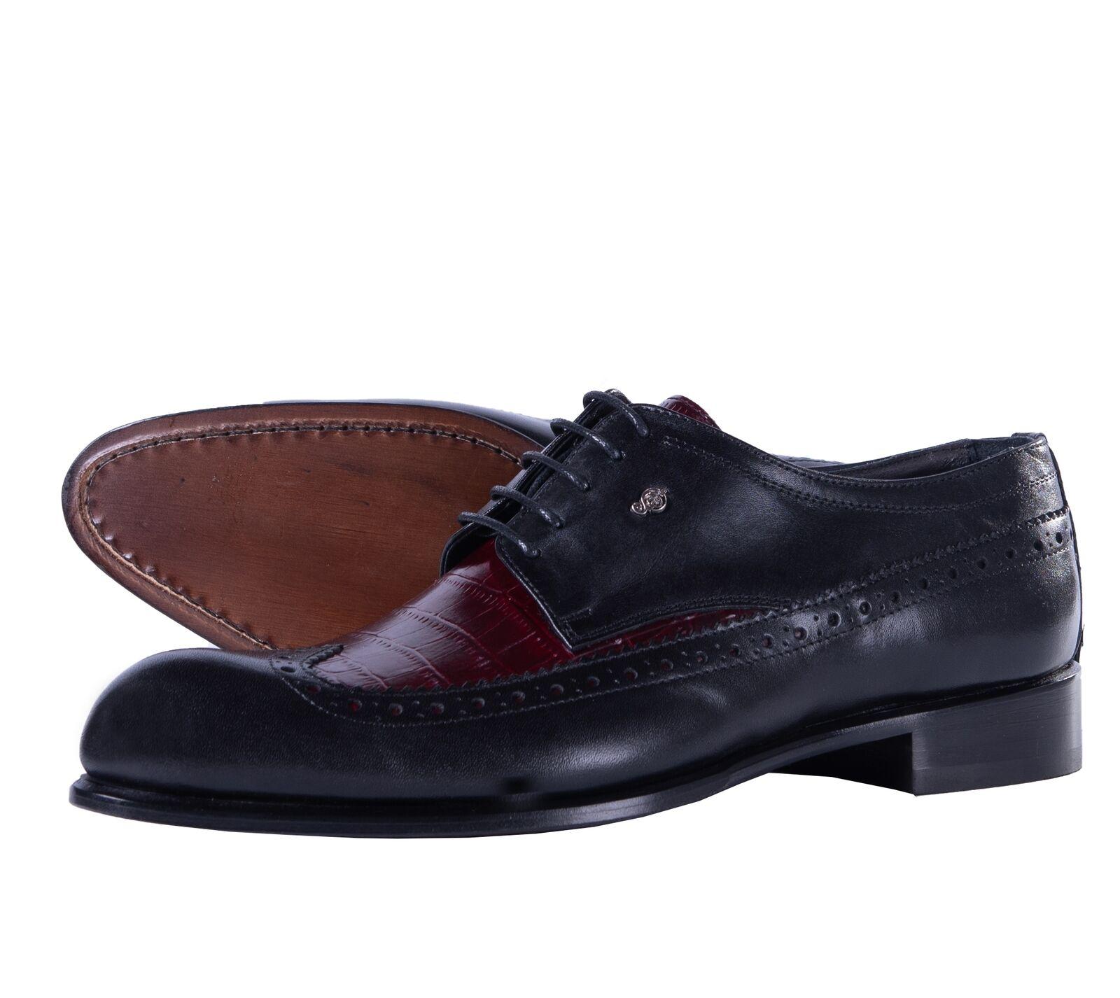 Zapatos de cuero SERGIO ERRUTI ROMA negro de cocodrilo en relieve de extremo de ala Italia 44 us11