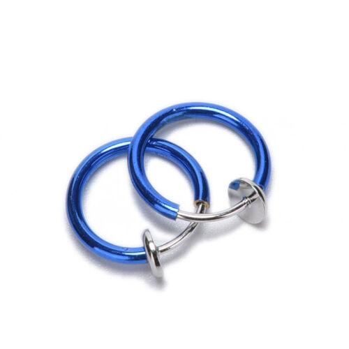 4X Clip Fake Nose Hoop Ring Ear Septum Lip Navel Eyebrow Earrings Piercing H UQ