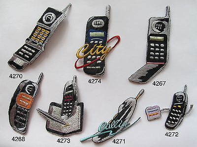 #4267~74 Vintage Cellphone,Mobile Phone w/City Word Embroidery Applique Patch