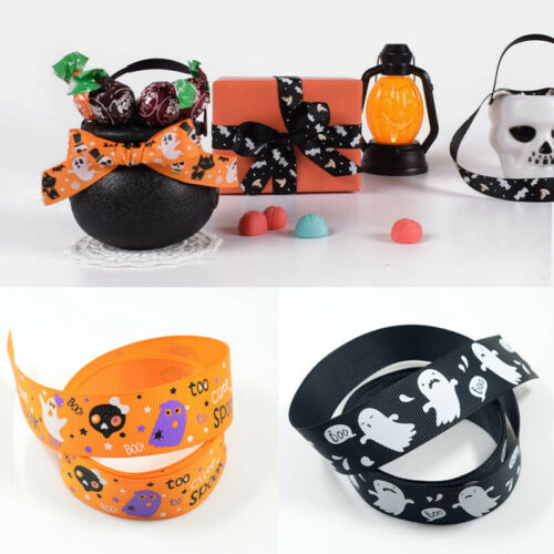 25mm Halloween Printed Grosgrain Ribbons Crafts Hair Bow Christmas Wedding Party