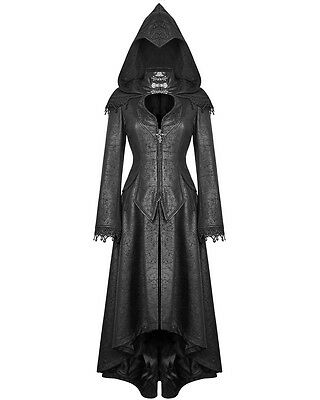 Punk Rave Womens Hooded Coat Jacket Long Black Gothic Dieselpunk Dystopian Witch