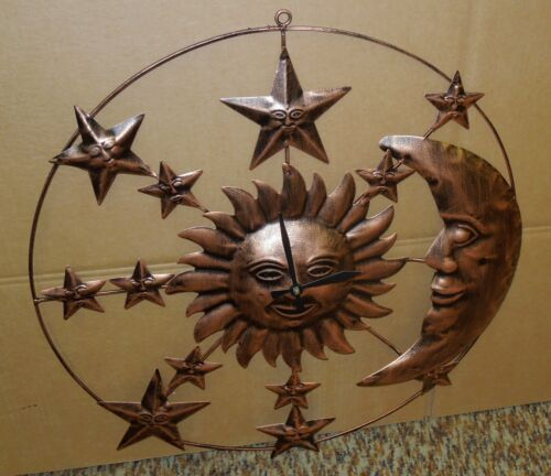 "MOON AND STARS CLOCK 21 /"" BRONZE FINISH ALL METAL CLOCK SUN"