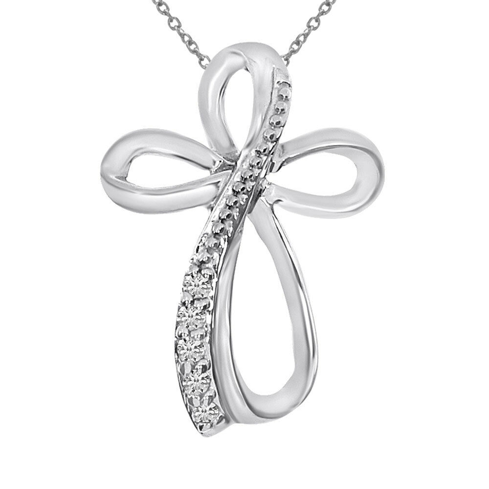 14K White gold Diamond Cross Fashion Pendant with 18  Chain