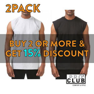 2-PACK-PROCLUB-MENS-PLAIN-TANK-TOP-CASUAL-SLEEVELESS-MUSCLE-TEE-GYM-FITNESS
