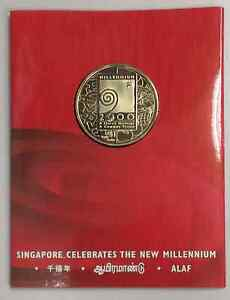 Singapore-Millennium-Silver-US-1-Trade-Dollar-Coin-In-Folder-Of-Issue