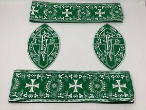 Ihs-Cruz-Vestment-Banda-Emblems-Blanco-Rayon-Encendido-Verde-4PC-Lote-Lote