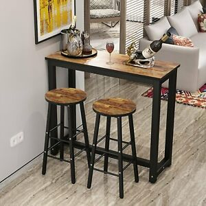 Details About New 3 Piece Pub Dining Set Wooden Table Kitchen 2 Bar Stools Small Space Saver