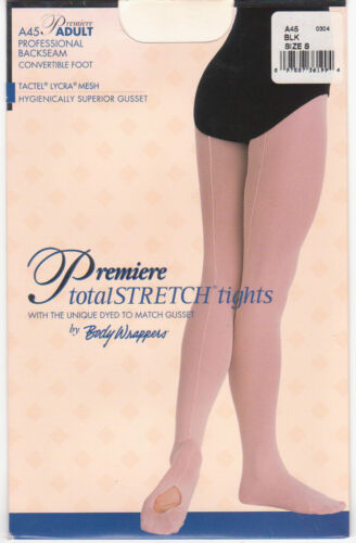 NEW Body Wrappers Professional Backseam Convertible Foot Tights Black Adult