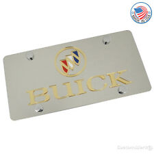 Buick Laser-Cut Gold Logo & Name On Polished Stainless Steel License Plate