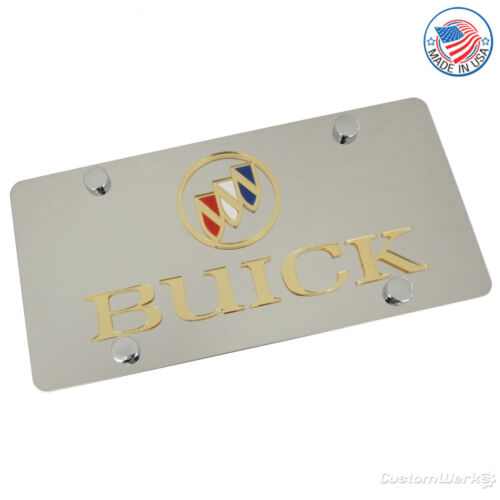 Buick Laser-Cut Gold Logo /& Name On Polished Stainless Steel License Plate