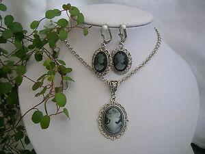 Details zu Trachtenschmuck Set Halskette + Ohrringe mit Gemme schwarzweiß Ring