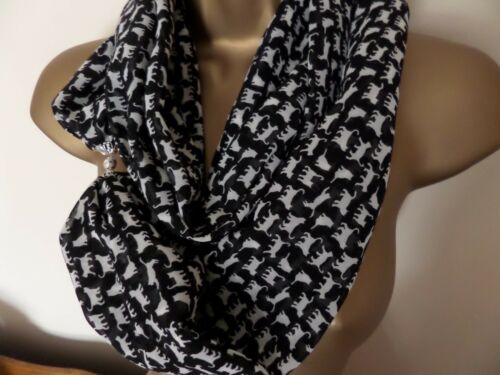 ANIMALS chiffon SCARF MAGNETIC with CLASP//FASTENER cats,dogs b//fly,owls,birds