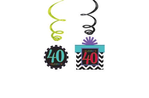 weiß bunt Geburtstag Party Deko Raumdeko Dekospirale Tisch Dekoration schw 40