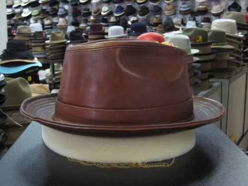 e5cb1da4cce 3 of 7 Borsalino Genuine Leather Cognac Fedora Hat (Read Description For  Size)