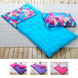 Details About S Sleeping Bag And Pillow Cover Fleece Lined Indoor Outdoor Camping Youth