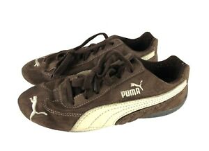 Puma-Speed-Cat-Brown-amp-White-Vintage-Suede-Leather-Women-039-s-Sneakers-Size-5-5