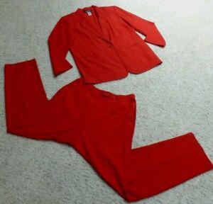 PERFECT COND Sag Harbor Pant Suit  True Red 2-Piece Suit Blazer w Pants Size 14