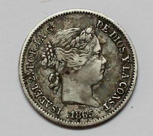 ISABEL 2ª Moneda 10 Centimos de Escudo 1865 Ceca Sevilla PLATA
