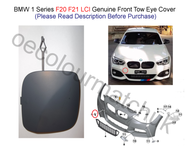 primered BMW 128 Towing Hook Cover Rear Bumper non-M