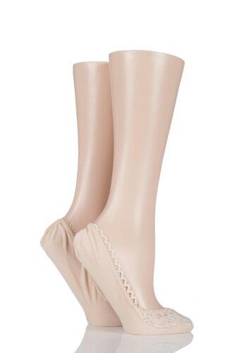 Ladies 2 Pair Elle Lacy and Plain Fashion Shoe Liners