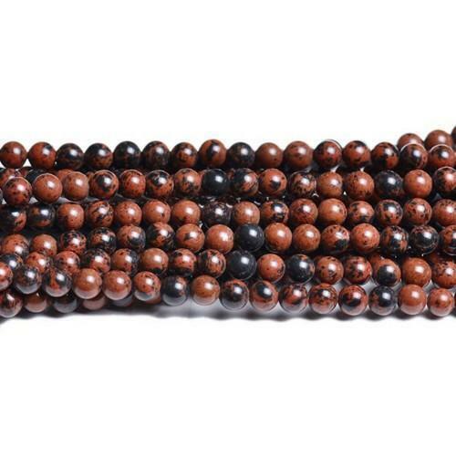 Pcs Gemstones Jewellery Making Mahogany Obsidian Round Beads 8mm Brown//Black 40