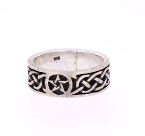Pentagramm-Flechtmuster-Nepal-Ring-Handarbeit-Silber-Groesse-58-8-Fingerring-IX-51
