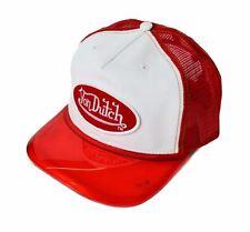 NEW VON DUTCH MENS TRUCKER VISOR HAT CAP WHITE / RED COLOR ONE SIZE ADJUSTABLE