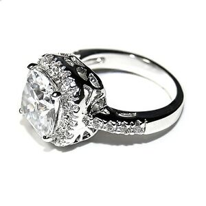 new pave 6ctw cushion cut basket halo cubic zirconia. Black Bedroom Furniture Sets. Home Design Ideas