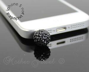 BLACK CRYSTAL BALL MOBILE PHONE IPHONE IPAD IPOD CHARM EARPHONE JACK DUST PLUG