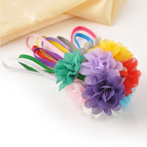 10pcs//lot Stylish  Newborn Baby Girl/'s Chiffon Flower Toddler Hairband Lovely