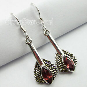 925-Sterling-Silver-Red-Facetted-Garnet-Dangle-Earrings-1-6-034-Fashion-Jewelry