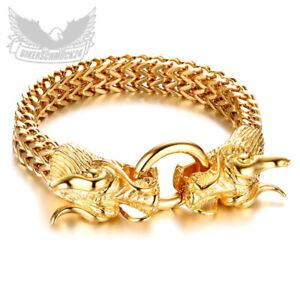 Goldenes Drachen-Armband Ringverschluss Edelstahl vergoldet XL Herren Armkette