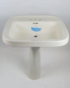 Image Is Loading Vintage Bathroom Pedestal Sink British Biscuit Gerber  Beige